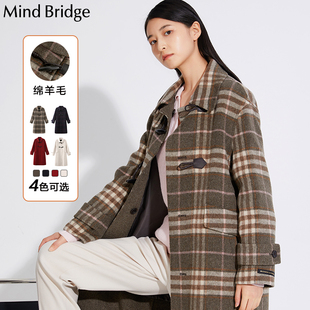 MindBridge毛呢外套中长款 女装 格纹呢大衣百家好2020冬季 MUCA920G